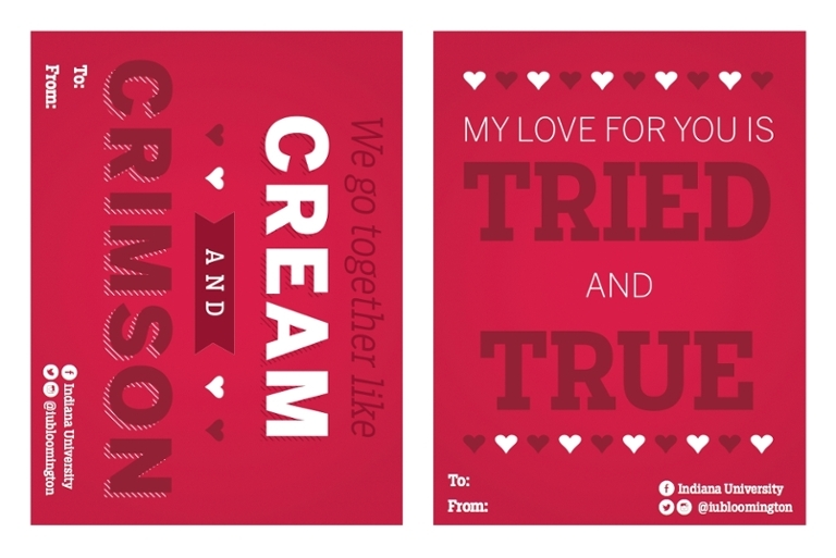 IU Bloomington-themed Valentine's cards.