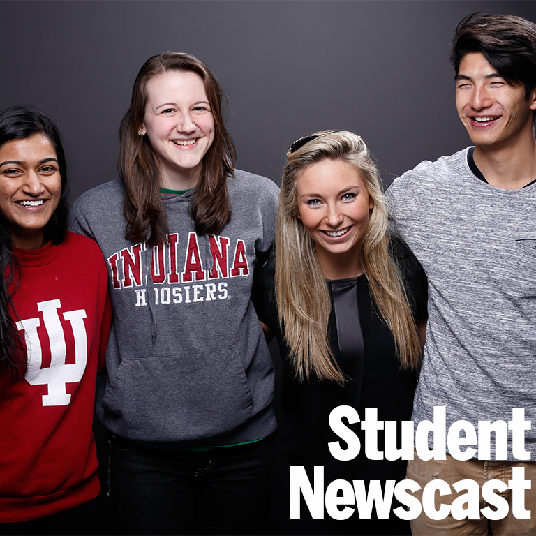 Image of students in IU Communications studio.