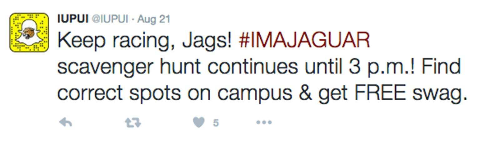 Tweet from @IUPUI on Aug 21: Keep racing, Jags! #IMAJAGUAR scavenger hunt continues until 3 p.m.! Find correct spots on campus & get FREE swag.