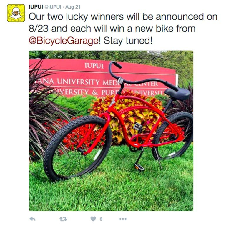 Tweet from @IUPUI on Aug 21: Our two lucky winners will be announced on 8/23 and each will win a new bike from @BicycleGarage! Stay tuned!